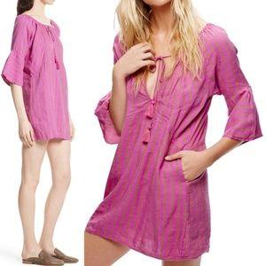 Free People Folk Town Mini Dress Linen Blend XS